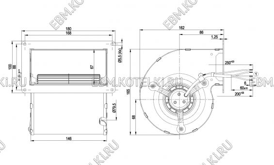 Центробежный вентилятор ebmpapst D2E097-BE01-65